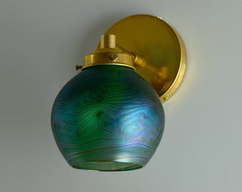 Iridescent Glass Sconce Light / Wall Sconce Lamp / Hand Blown Glass Wall Lamp / Art Glass Lamp / Art Nouveau Sconce Lighting