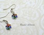 Dark Multicolour Antiqued Silver Crystal Flower Earrings