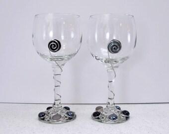 Black Beaded Wine Glasses, Beaded Wine Glasses, Wire Wrapped Wine Glasses, Set of 2 Wine Glasses, Black Wine Glasses