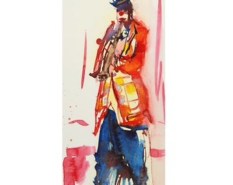Original watercolor of a clown with a red jacket, a blue hat and blue pants, decoration children room, original painting