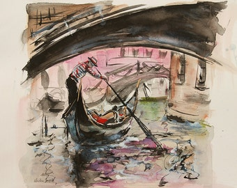 Watercolor and ink of a gondola in Venice passing under a bridge with roses and green reflections on the water, original painting, Italy