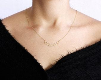 Chevron Necklace, Chevron Triangle Necklace, Triangle Necklace, V Necklace, Gold Simple Necklace, Gold V Necklace, Layering Necklace, SN0094