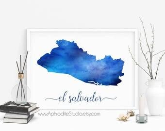 El Salvador printable poster - El Salvador watercolor poster - El Salvador art print - Travel Decor - Gift for travel lover - Digital print