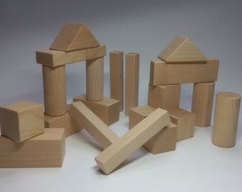 HAY Blocks, Wooden Kids / Childrens building blocks, all natural Maple sanded with rounded edges