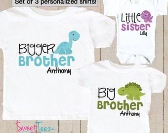 Bigger Brother Dinosaur Shirt SET of 3 Little Sister Big Brother Dino Sibling Personalized Big Sister Big Brother Shirts bodysuit SET