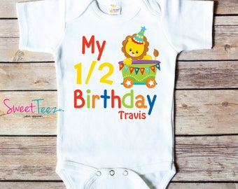 My Half Birthday Shirt Baby Boy Circus Lion Train Personalized Bodysuit Shirt