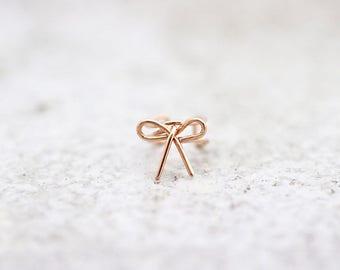 14K Solid Gold ear cuff/Cartilage earring /ear cuff non pierced/Ear crawler/Ear climber/Earring/ear wrap/Gold ear cuff/Bow ear cuff