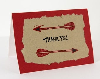 Black and Red Arrow Thank You 4Bar Card