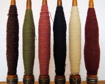 Vintage Industrial Wooden Bobbins with Wool Thread (Sold Individually or as a Set of Six)