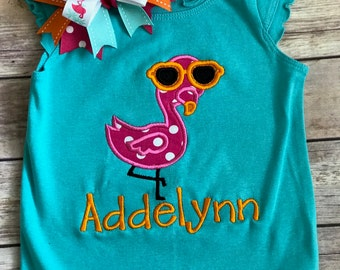 Flamingo Applique Shirt with matching BOW