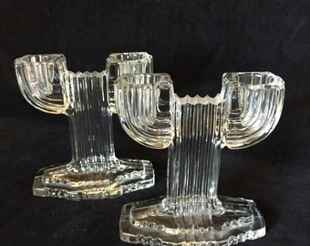 Anchor Hocking Art Deco Candleholders