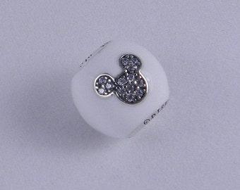 Disney I LOVE MICKEY Cz Charm / New / s925 / Threaded Charm / s925 Sterling Silver