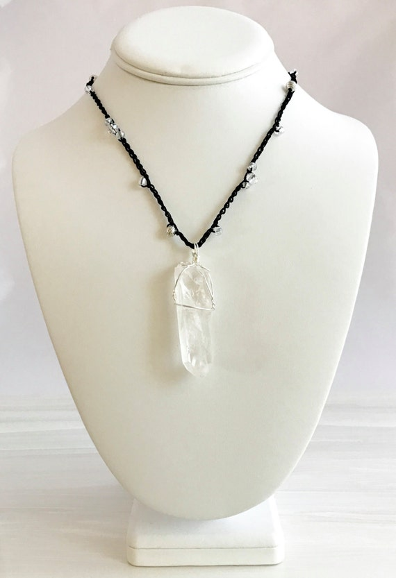 Quartz crystal pendant, nickel wire wrapping, hand crocheted, beaded necklace, talisman
