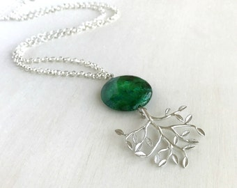 Large Chrysocolla and Silver Tree Pendant Chain Necklace, Green Stone Tree of Life Boho Statement Jewelry