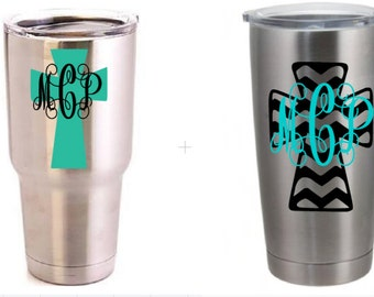 Monogram Chevron Cross Decal for Yeti's, SIC cups, cars, phones, laptops, and Windows!