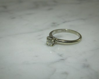 14K Gold Estate Diamond Solitaire Ring .45 Carat