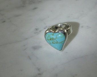 Turquoise Heart Ring (size 6.75) set in Sterling Silver