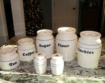 7 Piece Canister Set//Glazed Ceramic Canister Set//Farmhouse Canister Set//Sold as Three Different Items//Vintage Canister Set