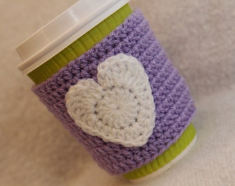 White Heart on Lilac / Purple Handmade Crochet Cup Cosy / Valentines gift