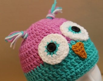 Pink and green owl beanie hat - adult ladies size - handmade crochet item
