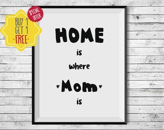 Home is where Mom is,Nursery wall art,Baby gift ideas,Typography print,Quote prints,Home quotes,Kids room art,Hipster baby,newborn girl gift