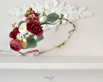 Woodland wedding headband Red floral crown white red flower head wreath Forest bridal halo Red woodland wedding Ready to ship crown