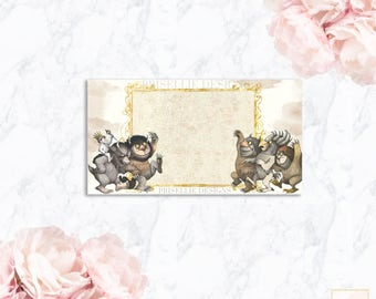 Where the Wild Things Are Place Cards, Table Labels, Food Cards, Party Decor | Matching Add-On Insert Cards | Prisellie Designs