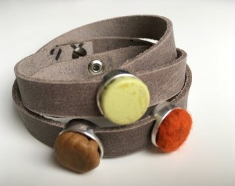 Rough leather wrap bracelet with three interchangeable sliding beads