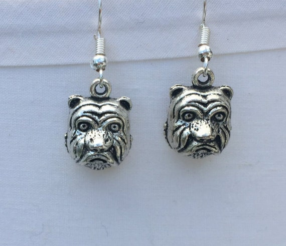 Bull Dog Earrings, antique silver