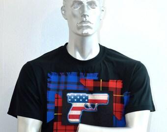 American Flag Shirt - Stars and Stripes - American Gun Shirt - Tartan T-shirt - Alternative Apparel - Custom T-shirts - Cult Clothing