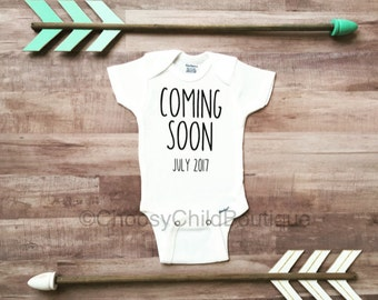 Pregnancy Announcement Onesie, Pregnancy Announcement, Coming Soon, Personalized Pregnancy Announcement, Pregnancy Announcement Shirt