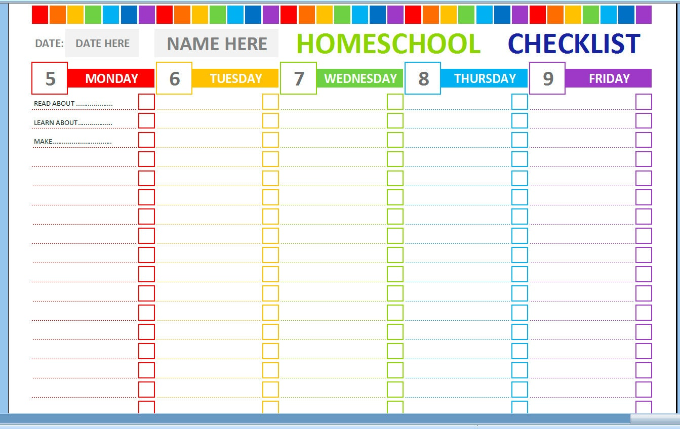 Weekly homeschool cheklist homeschool planner homeschool for Homeschool checklist template