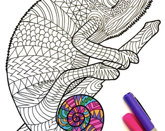 chameleon pdf zentangle coloring page - Zentangle Coloring Pages