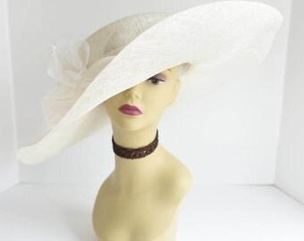 High Quality NEW Kentucky Derby, Church, Wedding, Tea Party Sinamay Jumbo Silk Flower Wide Brim Dress Hat 509 ( Ivory )