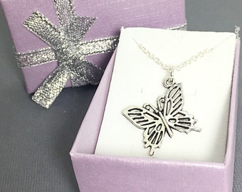Sterling Butterfly Necklace, Easter Gift, Silver Butterfly Pendant, Butterfly Gift, Bridesmaid Gift, Friend Gift, Butterfly Jewelry Gift,