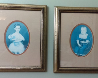 Set of Framed Prints Victorian Prints Picture with Wood Frames 12x14 Frames