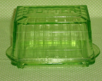 Green Block Optic Butter Dish