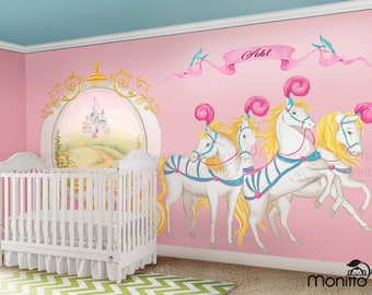 Disney princess castle with colorful birds and squirrel large for Chambre princesse disney