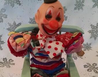Vintage yo yo clown, yo yo, vintage clown, fabric clown, Circus clown, Clown doll, yo yo doll, vintage cloth doll, quilt clown doll, clown