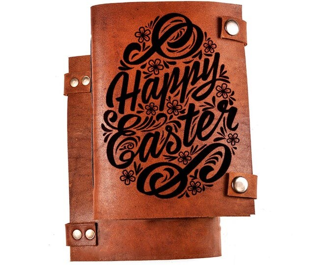 Happy Easter journal, Happy Easter notebook, leather journal, personalized journal, custom journal, notebook, sketchbook, happy easter
