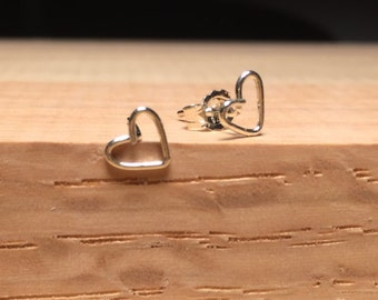Tiny Open Heart Earrings - Sterling Silver