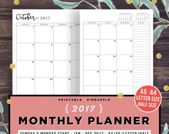 2017 Monthly Planner Printable, Filofax A5, Half Size Inserts, 2017 Calendar, Agenda, Dated Month on 2 Pages, A4, MO2P, Monday Sunday Start