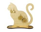 Cat wood organizer - engraved - lasercut - jewelry stand - animal lover - decoration - wooden art - cat earring holder - kitten lover gift