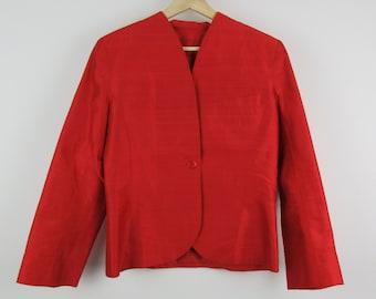 Vintage Silk Jacket / Red Raw Silk Cropped Blazer / Small S Medium M