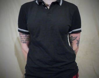 fred perry style black polo skinhead shirt