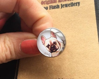 Original Tattoo design Ring Frenchie French bulldog  Cabochon