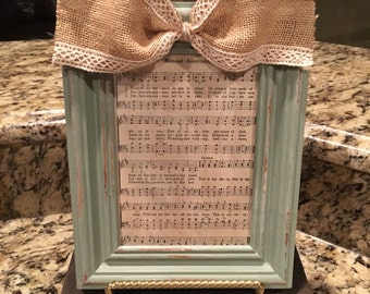 Hymnal Frame-Framed Hymn-Shabby Chic Decor-Vintage Hymn-Hymnal Craft-Distressed Picture Frame