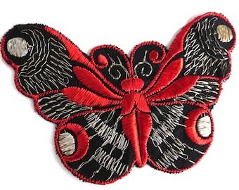Butterfly applique, 1930s vintage embroidered applique. Vintage patch, sewing supply. Applique, Crazy quilt. #649GC8K1
