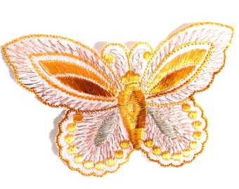 Applique 1930s vintage embroidered butterfly applique. Vintage patch, sewing supply. Applique, Crazy quilt. #6A7GB8KF