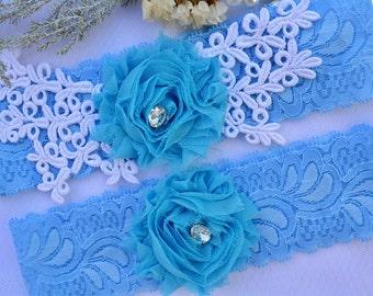 Blue Garter, Flower Garter, Rhinestone Garter, White Garter, Garter Set, Wedding Garter, Lace Garter, Garter For Bride, Toss Garter, Garter